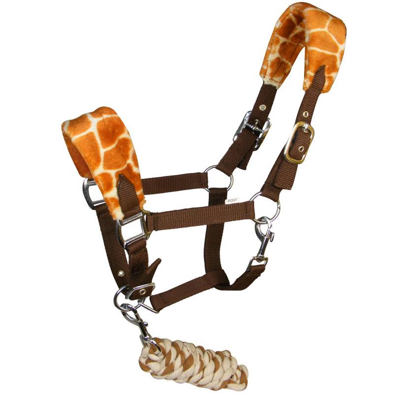 White Horse Giraffe Print Fleece Headcollar